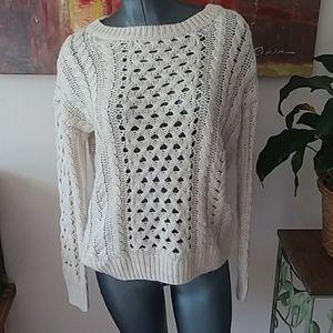 HALOGEN chunky knit oversized cream CREW neck swea